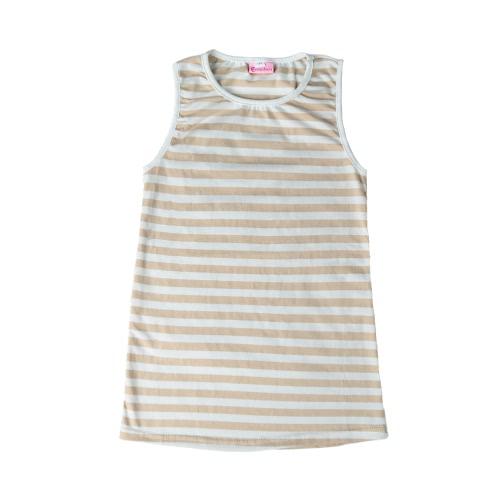 Nuova estate ragazze bambini Mini abito a righe O collo senza maniche Casual bambini Sundress maglia vestito rosa/Khaki