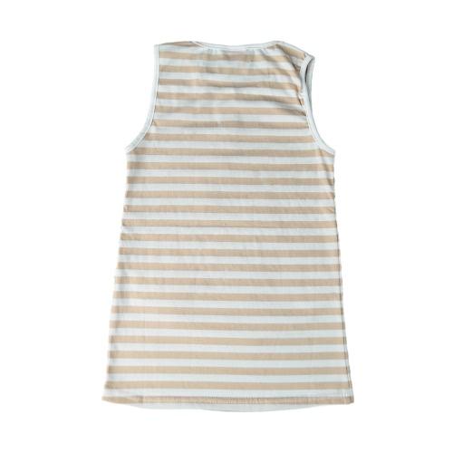 New Summer Girls Kids Mini Dress Striped O Neck Sleeveless Casual Children Sundress Shirt Dress Pink/Khaki