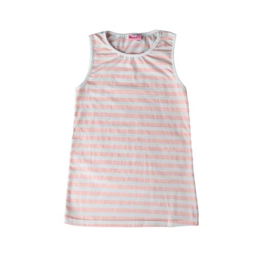 Verano niñas niños Mini vestido a rayas O cuello sin mangas niños Casual de tirantes camiseta vestido color de rosa/de color caqui