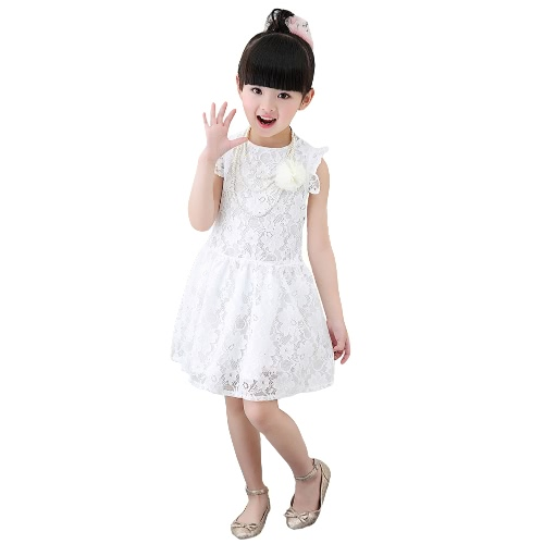 New Fashion Baby Girl Party Dress Lace Round Neck Sleeveless Ruffle Hollow Out Children Sweet Dress Red/White