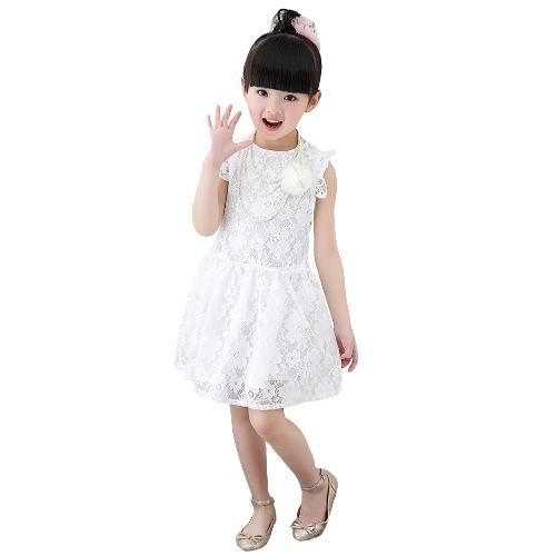 Nueva moda bebé niña vestido de fiesta encaje redondo cuello sin mangas volantes hueco hacia fuera los niños dulce vestido rojo/blanco