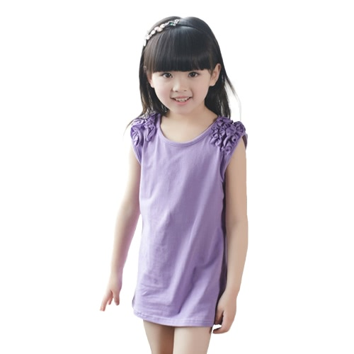 Fashion Cute Baby Kids Girl Mini Dress Solid Color Ruffle Round Neck Sleeveless Sweet Princess Dress