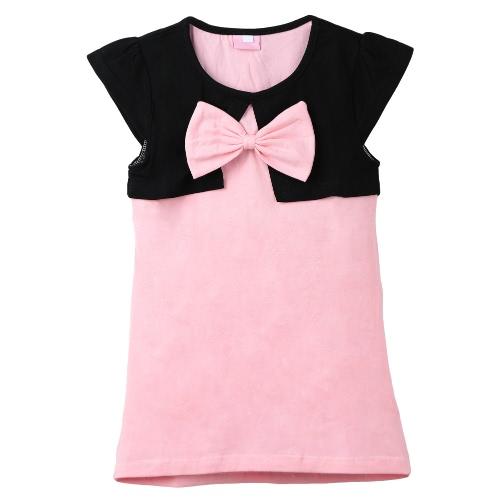 Neue süße Mädchen Kleid Spleißen Rundkragen kurze Ärmel süße Mini einteiliger Bogen