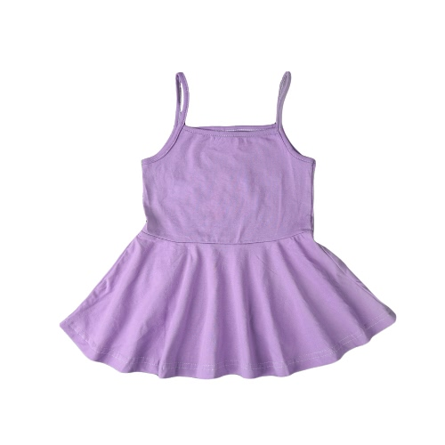 Summer Cute Baby Girls Mini vestido de color sólido correa de espagueti Square Collar Princess A-Line Dress