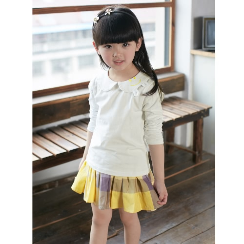 New Fashion Girls T-shirt Peter Pan Collar Orelhas Simle Bordado manga comprida Rosa / Amarelo / Beiege