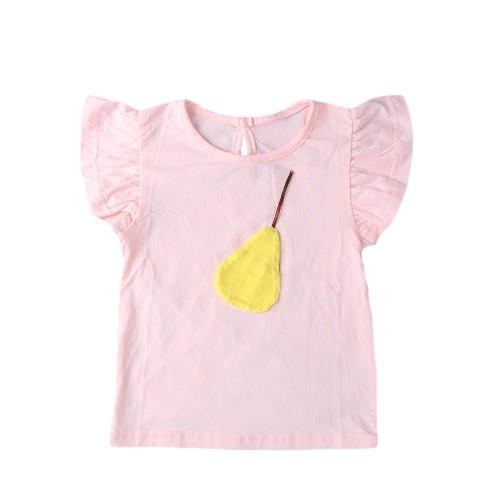 Moda Casual verano chicas camiseta frutas decoración manga corta cuello O ojo de la cerradura detrás lindo tes superior