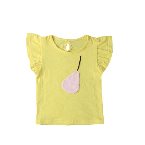 Fashion Summer Casual Girls T-Shirt Fruit Decoration O-Neck Short Sleeve Keyhole Back Cute Tees Top