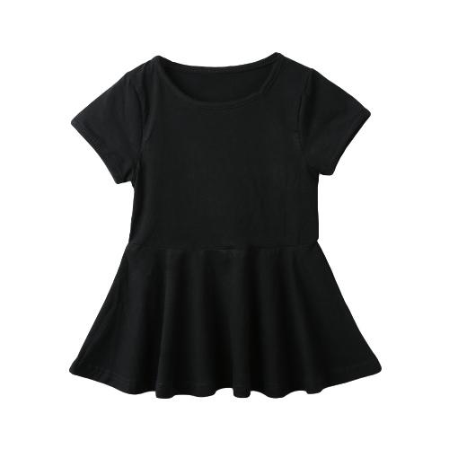 Nouvelle couleur pleine de jolies filles Mini robe évasée forme ronde cou manches courtes Casual monobloc