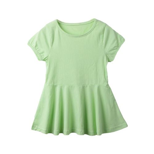Nuevas chicas lindas Mini vestido Color sólido quemado forma redonda cuello manga corta Casual una sola pieza