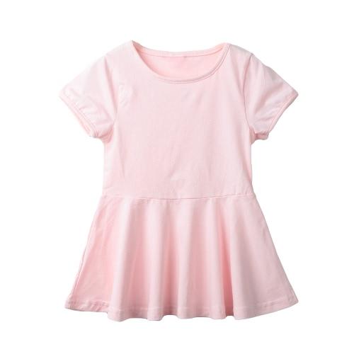 Neue süße Girls Minikleid Volltonfarbe aufgeweitetem Form Runde Hals Kurzarm lässig einteilig
