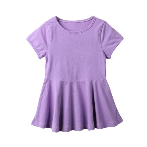 Nuevas chicas lindas vestido Color sólido volante dobladillo redondo cuello manga corta Slim Fit Casual una sola pieza