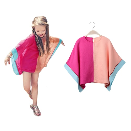 New Cute Girls Dress O-Neck Batwing Sleeves Contrast Splicing Back Button Candy Color One-Piece Rose