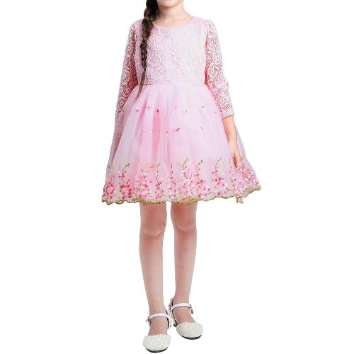 Lindos meninos meninas Organza vestido laço bordado flor Bowknot O pescoço Zipper traseiro crianças princesa vestido branco/rosa