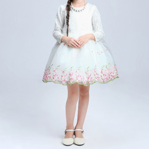 Cute Kids Girls Organza Dress Lace Embroidery Flower Bowknot O Neck Back Zipper Children Princess Dress White/Pink