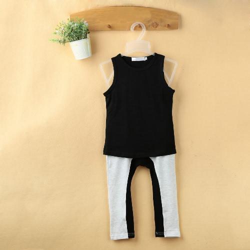Moda para niños de los bebés de dos piezas sin mangas del chaleco de la camiseta del color del contraste de empalme elástico de la cintura Pantalones Trajes Negro