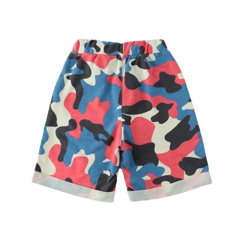 Kids moda bebê menino menina Shorts Camo camuflagem cintura elástica bolsos crianças Casual calças calças verde/escuro azul/vermelho