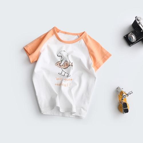 New Fashion Boys Girls T-shirt kontrastowy motyw Motyw Print Raglan Sleeve Śliczny okrągły dekolt Zwykły Casual Tee
