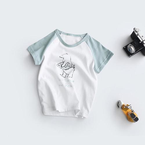 Nueva moda niños niñas camiseta contraste motivo impresión manga raglán Linda redondo cuello Regular Casual Tee