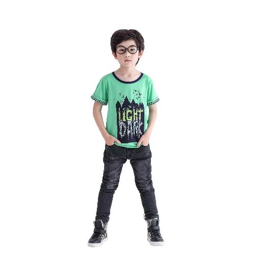 Kinder Jungen T-Shirt Brief Grafik Print O-Ausschnitt rollte Ärmeln Baumwolle Pullover T-Shirts Top