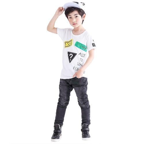 Nueva moda chicos niños camiseta manga corta cuello O carta parche impresión diseño Casual superior t
