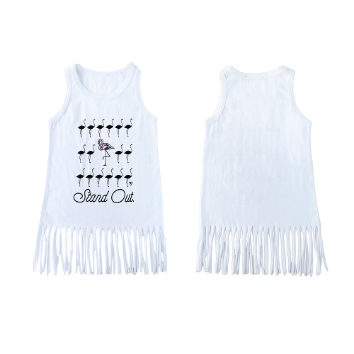 New Unisex Baby Boy Girl Lato Tee Okrągły Sweter Bez Rękawów Cartoon Print Tuńczyk Długi Kamizelka Tee Biały