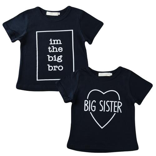 New Girls Kids T-shirt Top Letter Print O-Neck Z Krótkim Rękawem Cute Casual Dzieci Koszula Dark Blue
