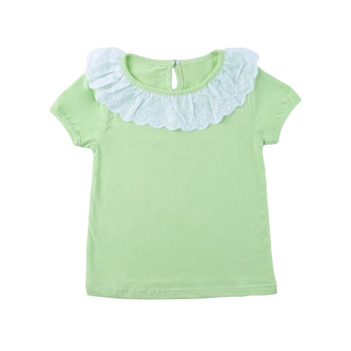 Sweet Cute Kids Baby Girl Cotton T-Shirt Peter Pan Collar Solid Color Short Sleeves Casual Tee Tops