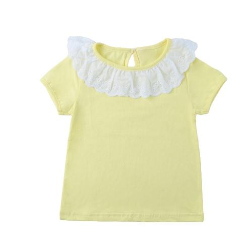 Niños lindos dulce bebé niña algodón camiseta cuello Peter Pan Color sólido manga corta Casual Tee Tops