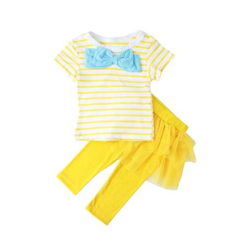Mädchen Kinder zweiteiliges Set Kontrast Streifen Bow Top T-Shirt O-Neck Tutu Rock Leggings Culottes Anzug Outfit-Sets