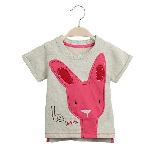 New Fashion Girls T-shirt Rabbit Letter Embroidery O-Neck Short Sleeves Asymmetric Hem Cute Children Shirt Beige