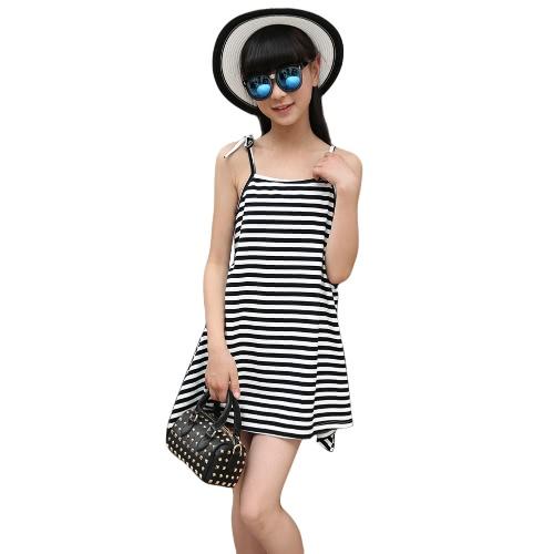 New Baby Girl Summer Self Tie Strap Cotton Dress Horizontal Stripes Side Pockets Vest Mini Dress Black