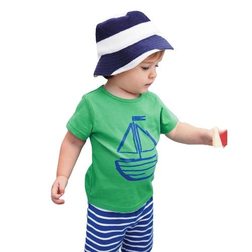 Nueva moda niños camiseta Set dos piezas cortos contraste patrón a rayas de impresión lazo cintura Ropa Casual juegos