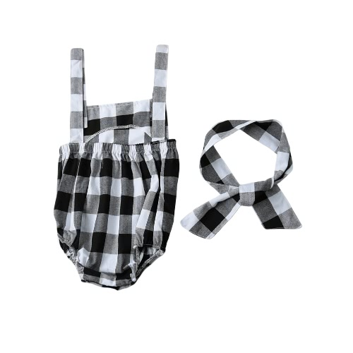 Fashion Newborn Infant Baby Girls Jumpsuit Strap Backless Plaid Covered Button Headband Toddler Romper Outfits Black/Pink