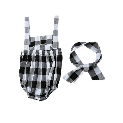 Mode Neugeborenen Säugling Baby Mädchen Overall Gurt rückenfreie karierten Knopf Stirnband Kleinkind Strampler Outfits Schwarz/Pink