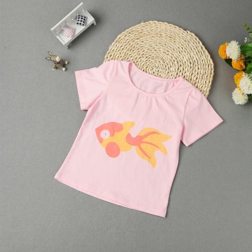 Girls Kids Short T-Shirt Fish Print O Neck Children Soft Casual Top Cute Tee White/Pink