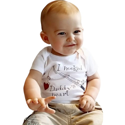 TOMTOP / Bebé infantil que menina Bodysuit Carta Imprimir macacãozinho Jumpsuit da criança Roupa Outfit One Piece Branco