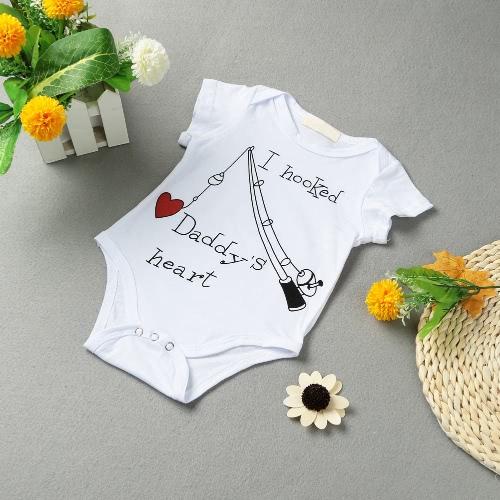 Säuglings-Baby-Jungen-Mädchen-Bodysuit Letter Print Strampler Overall Kleinkind Overalls Outfit One Piece Weiß