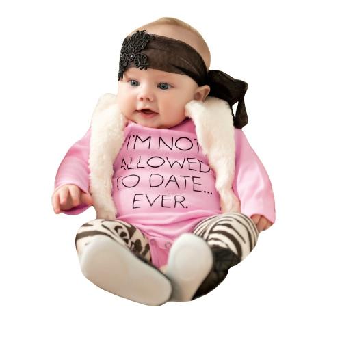TOMTOP / Bebé infantil que menina Carta Bodysuit Imprimir macacãozinho Jumpsuit da criança macacão de mangas compridas Outfit One Piece-de-rosa