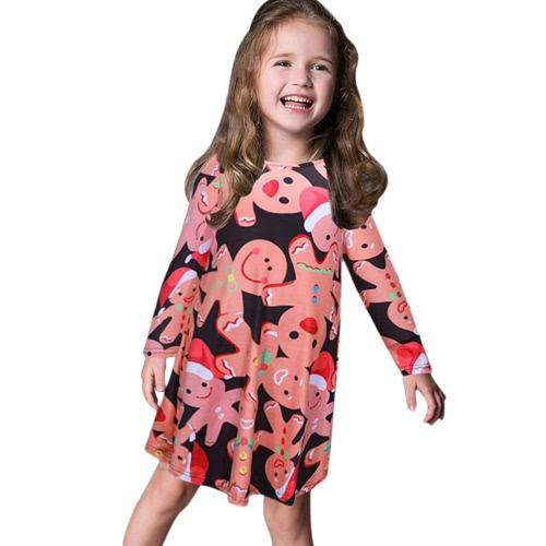 Vestido de impresión de Navidad para niñas niñas Vestido de manga larga O niños de cuello Princesa Dress Costume T-shirt