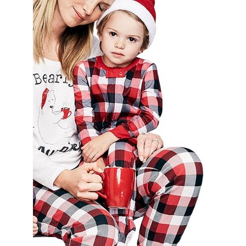 Рождественский семейный комбинезон для новорожденных плед с длинными рукавами унисекс малыша боди комбинезон наряды Красный