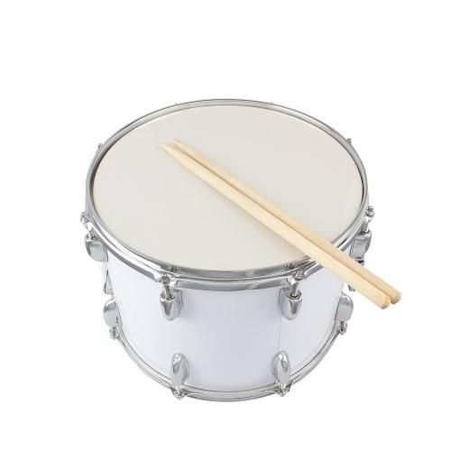 14 x10 polegadas Marching Drum Drumsticks Chave Strap Branco