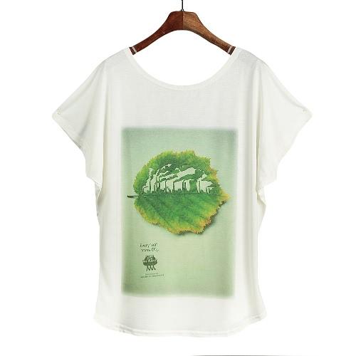 Nowa damska koszulka trykotowa Special Print O-Neck krótkie rękawiczki batwingowe pullover luźna casualowa sukienka plus size