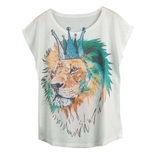 Nowej kobiet Koszulka Special Print O-Neck Krótkie rękawy Pullover Loose Casual Tee Top Moda