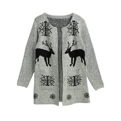 Brasão Moda feminina malha Pocketed aberta frontal mangas compridas Casual malha longo suéter cinza