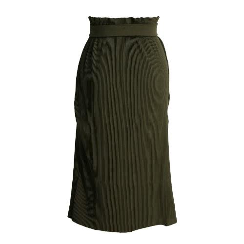 Women Pleated Midi Skirt Elastic High Waist Strap Straight Skirt Two-Way Tube Top Dress