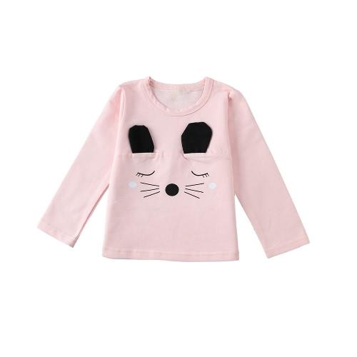 Moda infantil bebé niña algodón camiseta oreja Linda barba patrón manga larga Casual niño suave t Tops blanco/rosa/gris