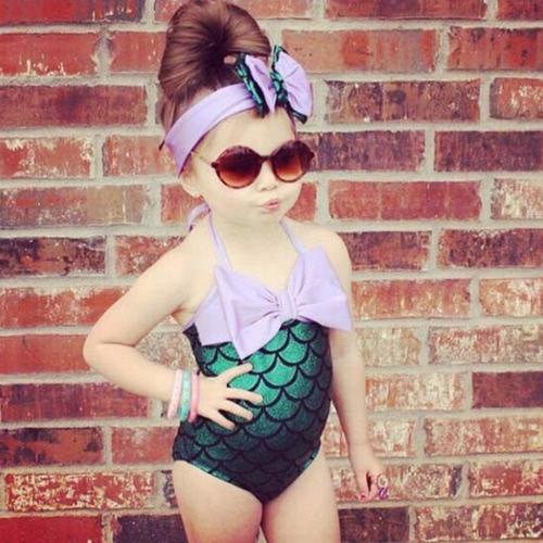 Image of Bademode und Hairband Mädchen Meerjungfrau Bikini Badeanzug Badeanzug Badeanzug Kostüm Kinder Kleinkind Mädchen Badeanzug