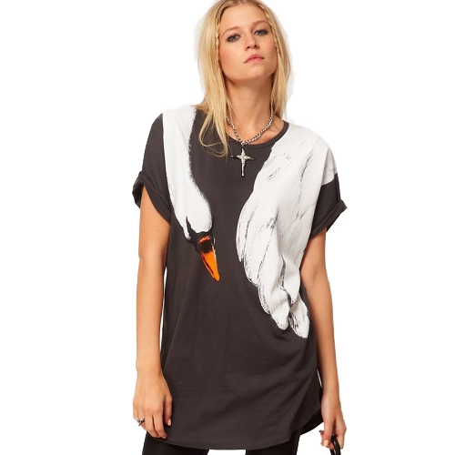 Mulheres Loose Long T-shirt Animal Swan Badger Imprimir Rodada Neck Short Roll Roll Sleeve Casual Tops