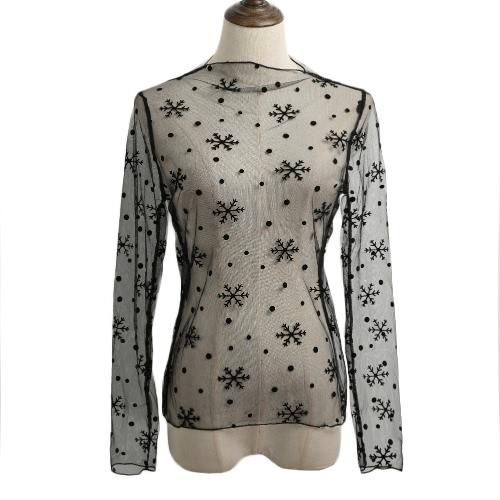 Neue reizvolle Frauen bloße Ineinander greifen, figurbetontes Top dünne Spitze mit langen Ärmeln Pullover Elegante Bluse schwarz