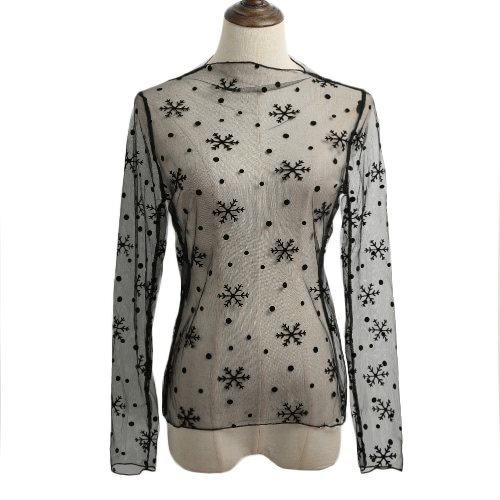 Novas Mulheres Sexy Sheer malha Bodycon Top Fina Lace mangas compridas capuz elegante blusa preta